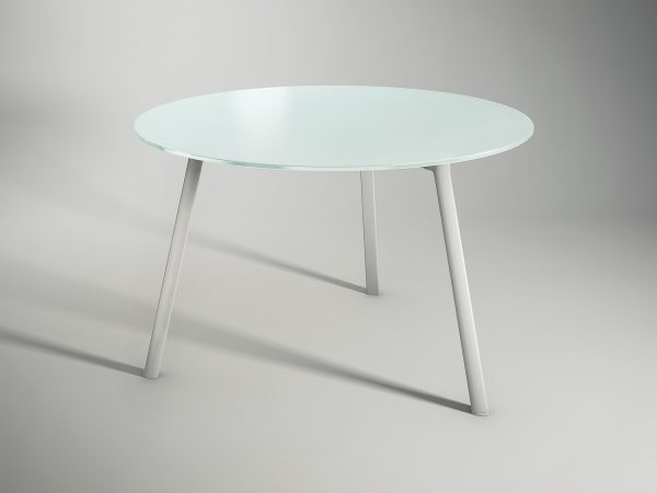 BLACK GLASSTOP ROUND MEETING TABLE