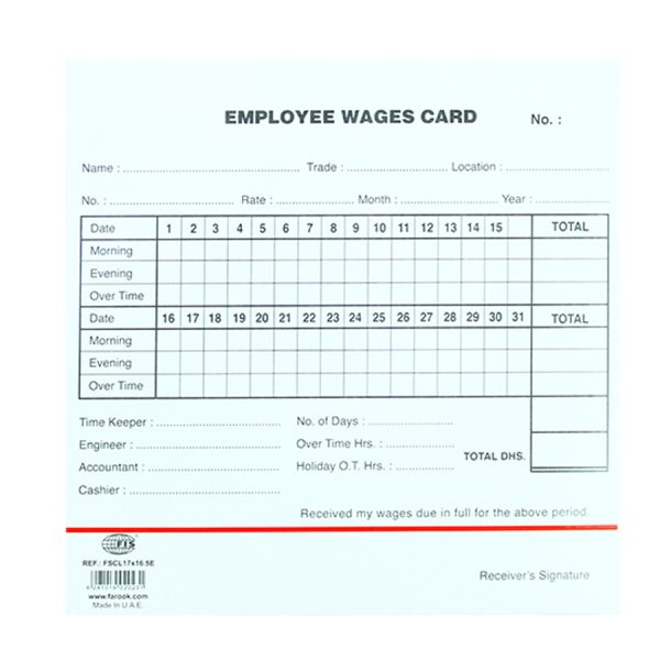 Employee Wages Card 100Pcs-Pack