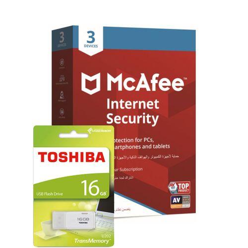 Mcafee Internet Security 3 Devices & Toshiba USB Flash Drive 16GB