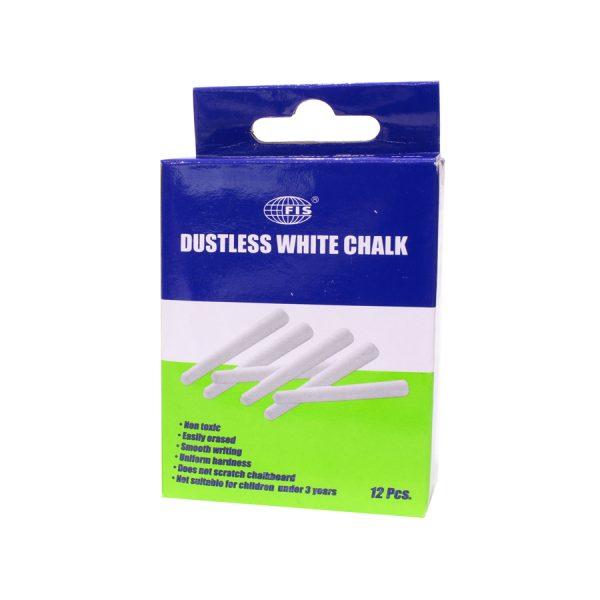 Dustless White Chalk – 12 PCS